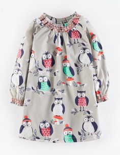 Smocked Printed Dress 33402 Day Dresses at Boden