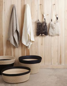 Love these bold Mexican baskets to hold mags, kids toys, etc. Ref: Garde in Los Angeles, Lonny Mag Wooden Walls, Closet Organization, Retail Design, Accessories Shop, Cool Stuff, Inspiration, Home, Baskets, Decor