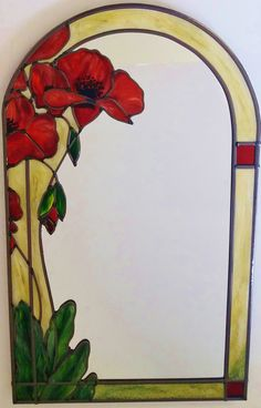 Papavers decoratieve spiegel ~ A bespoke Art Nouveau ~ jaren 1920 Tiffany geïnspireerd gebrandschilderd glas gelode 30x50cm Poppy spiegel. Door Douglas Payne