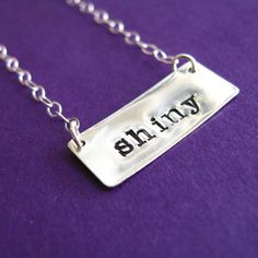 'shiny' Firefly hand-stamped silver necklace