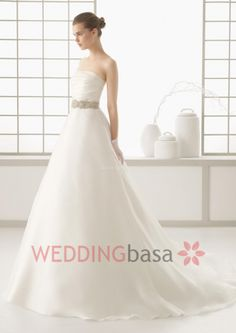 Simple A-Line Style Strapless Floor-Length Beading Wedding Dress New