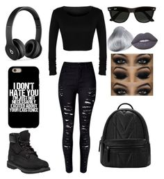 """""""Untitled #69"""" by madriz-soamdi on Polyvore featuring Timberland, Beats by Dr. Dre, Ray-Ban and Lime Crime"""