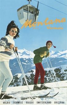vintage ski poster. Montana Swiss