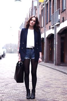 navy blazer, white shirt, jean short cutoffs
