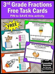 FREE Fractions Task Cards 3rd Grade Math Center Common Cor