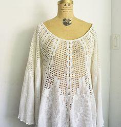 RESERVED  vintage crochet lace dress /white lace dress by zaama