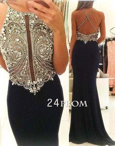 Unique sequin long black prom dress,evening dress, modest prom dress long