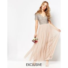 Maya V Neck Maxi Tulle Dress with Tonal Delicate Sequins ($138) ❤ liked on Polyvore featuring dresses, pink, tall maxi dresses, white cocktail dresses, white beaded dress, pink cocktail dress and pink maxi dress