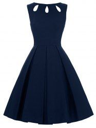 Hollow Out Flare Dress - PURPLISH BLUE M Mobile
