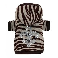 Rhinestone Fleur de Lis Zebra Dog Hoodie- I think my Punin' needs this! Since she just LOOOVES to wear clothes;) Ha!!