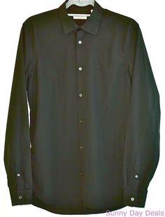 Burberry Brit Shirt Mens Black Cotton Button Front Long Sleeve Solid Versatile  #Burberry #ButtonFront