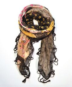 Love this Brown & Yellow Floral Fringe Scarf on #zulily! #zulilyfinds