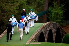 These are the 3 Bridges Named for Golfers at Augusta National: The stone structure, topped with artificial turf, in this photo is the Hogan Bridge, which leads golfers to Augusta National's 12th green.