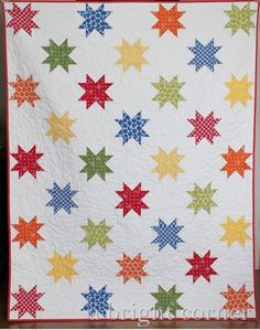 Stars Abound a PDF Quilt Pattern Throw Size by aBrightCorner Star Quilt Blocks, Star Quilt Patterns, Star Quilts, Scrappy Quilts, Baby Quilts, Block Quilt, Quilting Projects, Quilting Designs, Quilting Ideas