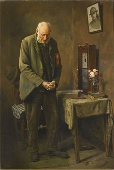 Charles Spencelayh (England 1865-1958) - Two minutes' silence