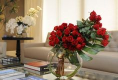 "Emilio Robba Design Team - Red Roses & Monstera Leaf 13"" Moon Vase"