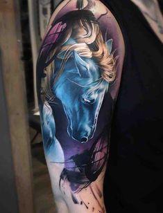 Pretty Blue Horse tattoo by tattoo artist Sandra Daukshta based in Latvia, Riga Tattoo Girls, Girl Tattoos, Great Tattoos, Sexy Tattoos, Body Art Tattoos, Unicorn Tattoos, Animal Tattoos, Back Tattoo, I Tattoo