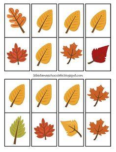 ✿ Trabajar las matemáticas en Otoño es muy sencillo, aquí os dejo un dominó con hojas del otoño, espero que os guste. ...