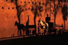 Bruno Barbey. MOROCCO. Fez. Late afternoon sun reflecting on the wall of the Royal Palace. 1985