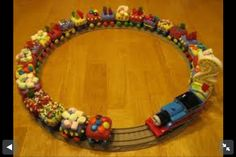 Thomas cupcake idea - I've never seen this before and I LOVE IT!!! AWESOME idea!!! Average Thomas party is $150-$200 just for the cake / pops / cupcakes etc. This is a great idea for those that want to have that WOW factor, but keep it simple enough that you can even DIY!!!
