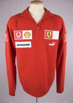 PUMA Mens 1/2 Zip Team Ferrari Red Sweater Sz XL Merino Wool Patch