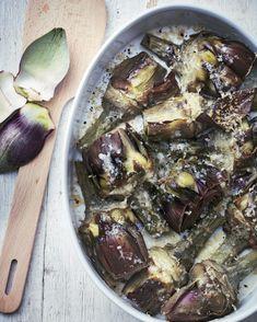 Ma recette d'artichauts violets au parmesan - Laurent Mariotte Batch Cooking, Seasonal Food, Cravings, Good Food, Food And Drink, Pork, Gluten, Vegetables, Parmesan
