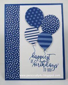 Personally Yours: Stampin With Scraps - Blueberry Bushel Balloons Geburtstagskarte Homemade Birthday Cards, Homemade Cards, Diy Birthday, Sister Birthday, Homemade Greeting Cards, Birthday Brunch, Card Birthday, Birthday Gifts, Bday Cards