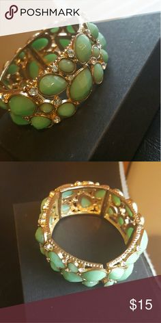 Forever 21 Sage/Gold Stretch Bracelet Only worn once or twice! All gems perfectly intact and  extra sparkly with faux diamond accents! Fun for spring and summer trendsetters Forever 21 Jewelry Bracelets