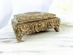 FRENCH FARMHOUSE Vintage Footed Jewelry Casket  Silver Metal Trinket Box Antiqued Silver with Red Velvet Lining