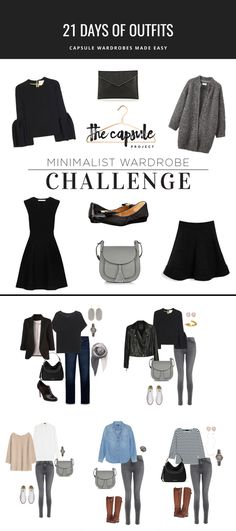 5 outfits you can make from the challenge pieces. Join the challenge to get 21 more outfits based on the Five Piece French Wardrobe.