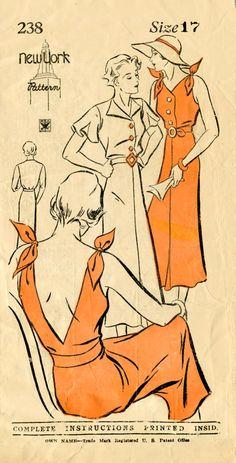 1930s 30s women's vintage sewing pattern summer sun dress halter deep v plunge back  Medium bust 35 b35 NY 238 repro