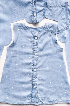 Denim Shirt Upcycling – or: Improving the world I simply cut out the baby dress from the middle of the shirt. Front and back are identical. The post Denim Shirt Upcycling – or: Improving the world appeared first on DIY Fashion Pictures. Fashion Moda, Diy Fashion, Ideias Fashion, Petite Fashion, Fashion Dresses, French Fashion, Fashion Tips, Sewing For Kids, Baby Sewing