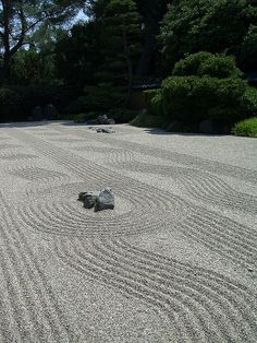 At The Huntington Library in the Botanical Gardens, there was a large Zen garden in the Japanese garden.