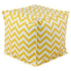 """Cotton cube pouf with a chevron motif. Made in Council Bluffs, Iowa.   Product: PoufConstruction Material: Cotton cover and EPS styrofoam bead fillColor: Yellow and whiteFeatures:  Zippered closure Made in Council Bluffs, Iowa Dimensions: 17"""" H x 17"""" W x 17"""" DCleaning and Care: Hand or spot clean"""
