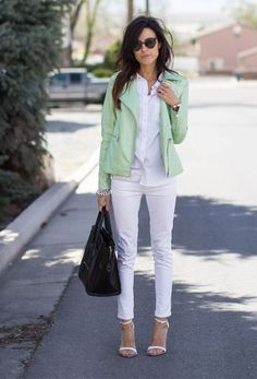 all white- mint accent