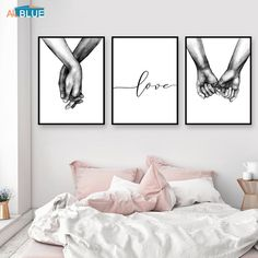 decor living room pictures Nordic Poster Black And White Holding Hands Picture Canvas Prints Lover Quote Painting Wall Art For Living Room Minimalist Decor