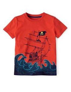 Flame Pirate Ship Summer Logo T-shirt