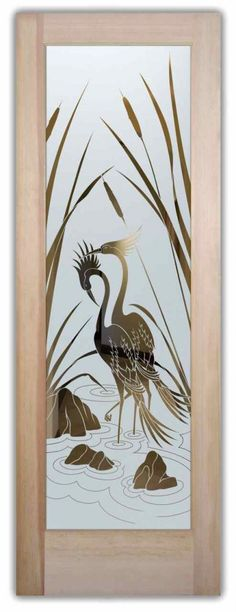 Glass Doors Etched Glass Asian Decor Nature Birds Cranes Cattails