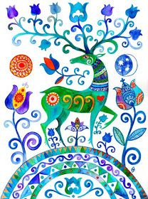 Indian Folk Art, Mexican Folk Art, Folk Art Flowers, Flower Art, Scandinavian Folk Art, Art Drawings For Kids, Cottage Art, Madhubani Painting, Ukrainian Art