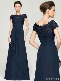 You will love the way you look and feel in this elegant Mother of the Bride dress! #jjshouse #darknavy #dress #motherdress
