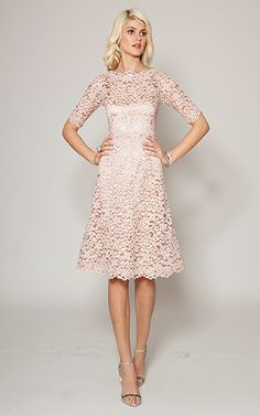 e98e3b5b490f Dusty Pink Boatneck Lace Cocktail Dress