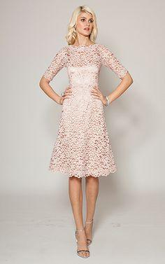 Dusty Pink Boatneck Lace Cocktail Dress | Teri Jon#P=F