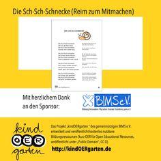 Reim und Fingerspiel: Die Sch-Sch-Schnecke | #0014 – KindOERgarten.de – Freies Material für das Kindergartenalter