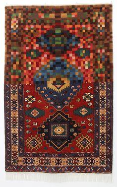 Tradition in Pixel by Faig Ahmed. Handmade woolen carpet, 100x150cm, 2010