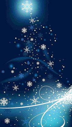 Snowflakes christmas tree iphone 6 plus wallpaper - blue and white разное о