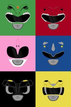 Morphin' Time - Power Rangers by Mikey Turvey http://society6.com/product/morphin-time-power-rangers_print?curator=travislove #vector #minimalist #PowerRangers