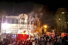 Flames rise from Saudi Arabia's embassy after Iranian protesters stormed the building in reaction to Saudi Arabia's execution of a prominent Shi'ite cleric