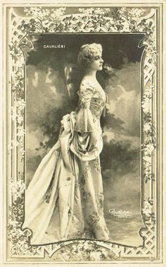 1900s Art Nouveau French Reutlinger Postcard Fantasy Photomontage Opera Star Lina Cavalieri Beautiful Portrait in Baroque Romantic Costume