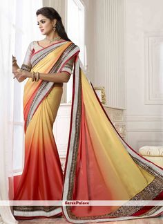 Luxuriant Zari And Patch Half And Half Party Wear Saree