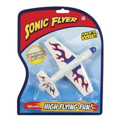 """Toysmith 7"""" Sonic Flyer Toy Assorted Colors * NO COLOR CHOICE * Performs amazing stunts when launched by rubber band or by hand * Glides up to 100' * Includes: rubber band launcher * Assorted colors * 7"""" wingspan #hometools #homeequipment #homedepot #houseneeds"""
